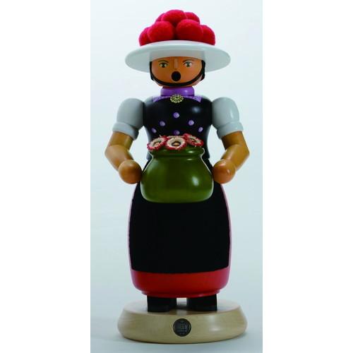 煙出し人形・ボレン帽子の女の子・レッド(GE16641)【ルタラー/Kunstgewerbe G.Lutherer GmbH&Co.KG】【6歳以上から】