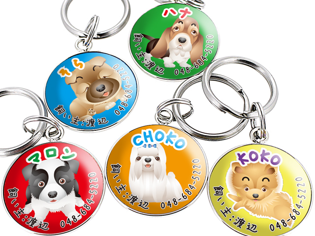 迷子札 犬 ステンレス チョーカー おしゃれ 首輪 名入れ 【メール便】  大型犬小型犬 犬種ごとのデザイン◎ 愛犬のお名前を迷子札にお入れします♪ 犬のイラスト