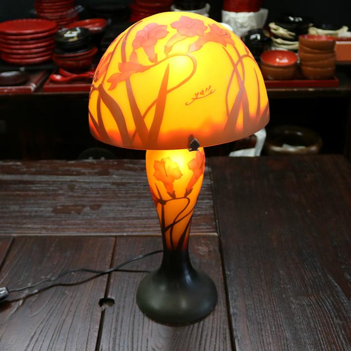ガラス工芸 アンティーク 卓上ランプ 雑貨 家具 癒し オレンジ
