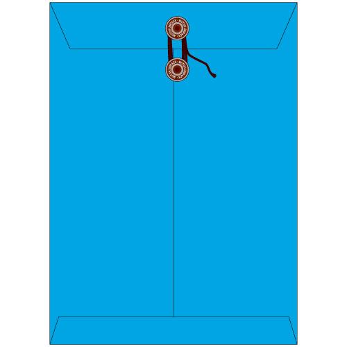 角2保存袋(マチ・紐付)ハイデラックスカラー ブルー色保存袋 角2 保存封筒 保存 サイズ255×35×342mm厚さ 185g/m2 100枚/1箱