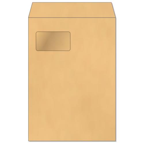 角形A4 エコ窓1号 封筒【クラフト】85g[センター貼][郵便番号枠なし]サイズ W220×H310mm窓寸法 W90×H50500枚/1箱