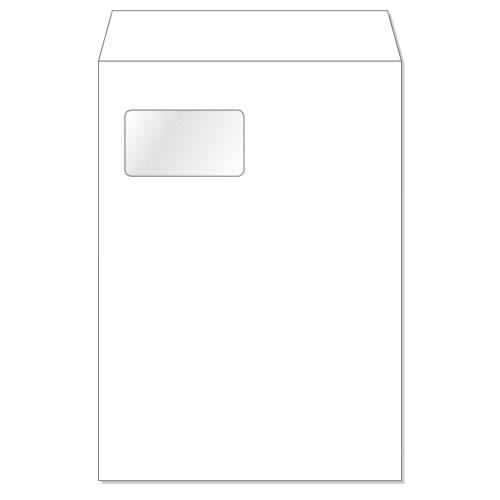 角形A4 エコ窓1号封筒【透けないケント/白】100g[センター貼][郵便番号枠なし]サイズ W220×H310mm窓寸法 W90×H50500枚/1箱