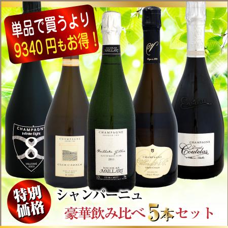 【特別価格・在庫限り】豪華シャンパーニュ飲み比べ 5本セット