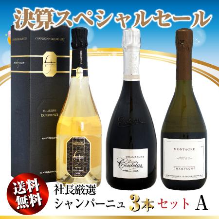 【決算セール】送料無料 社長厳選 シャンパーニュ 3本セット A