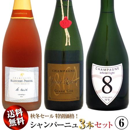 【送料無料】秋冬セール シャンパーニュ 3本セット 06