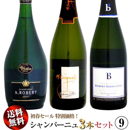 【送料無料】初春セール シャンパーニュ 3本セット 09