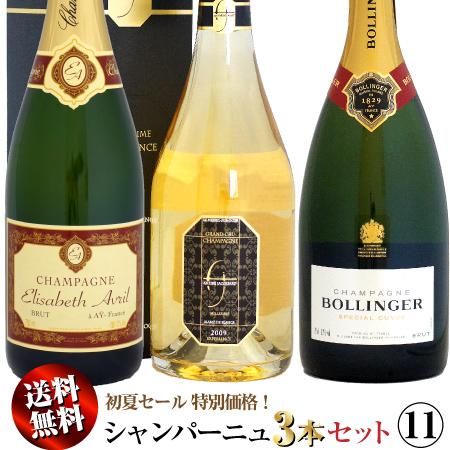 【クール送料無料】初夏セール シャンパーニュ 3本セット 11