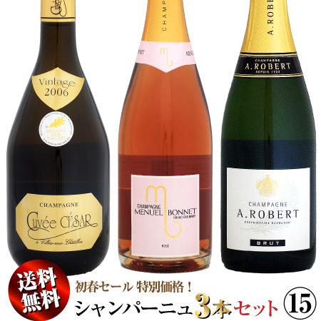 【送料無料】初春セール シャンパーニュ 3本セット 15
