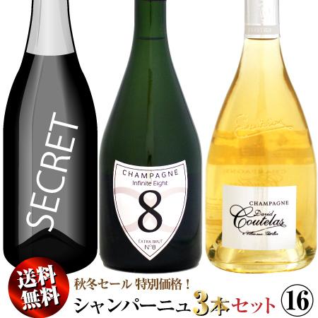【送料無料】秋冬セール シャンパーニュ 3本セット 16