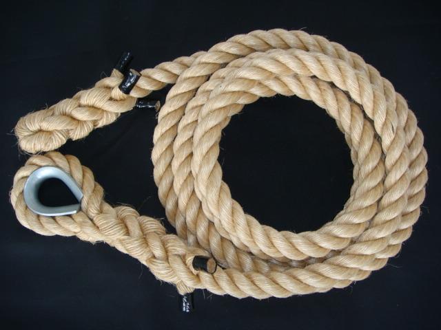 トレーニングロープ/マニラ麻ロープ/ターザンロープ/送料無料/マニラ麻製ターザンロープ(登り綱) 38mm×10M コース入