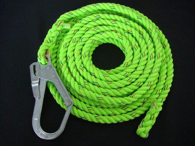 親綱ロープ 蛍光色ロープ 蛍光シグナル親綱(介錯)ロープ 16mm×15M