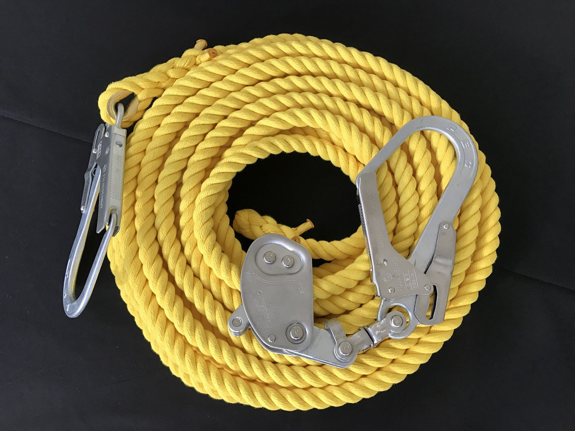 親綱ロープ/送料無料/エステルロープ/エステルカラー製親綱ロープ 黄 16mm×30M 緊張器付