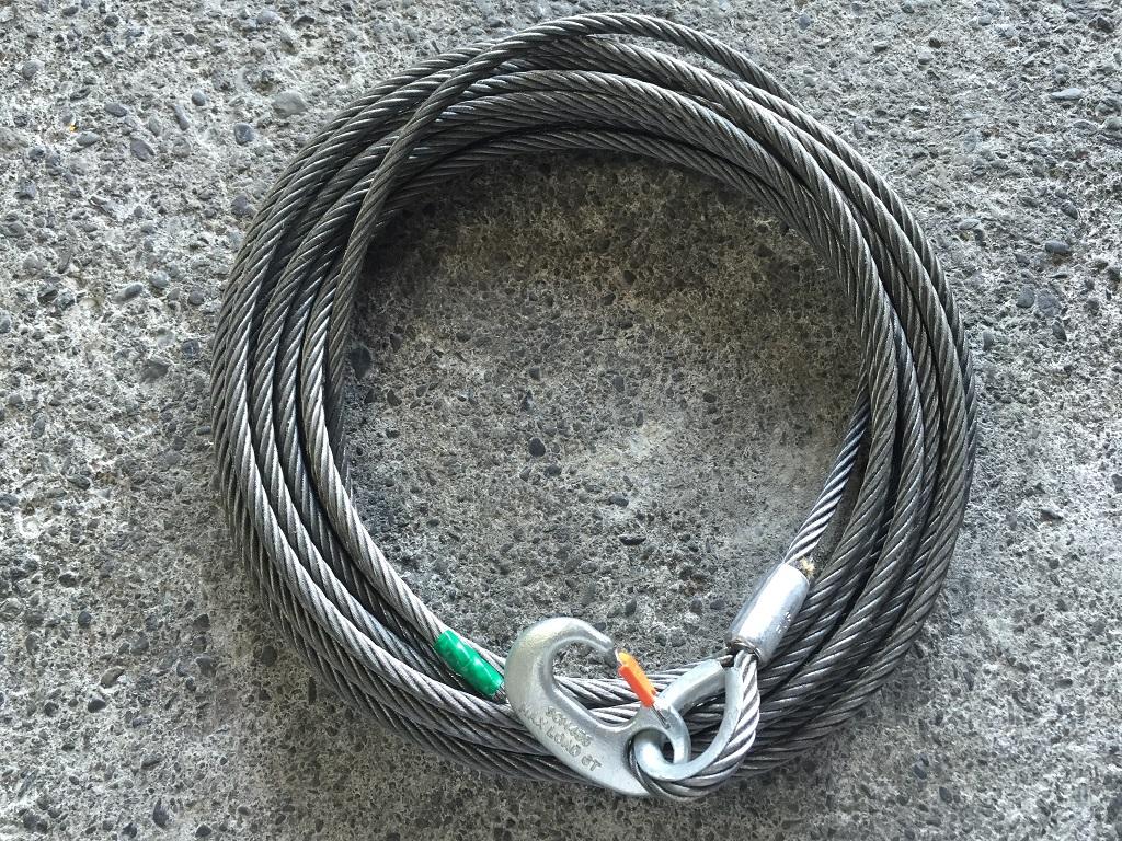 積載車用ワイヤーロープ ウインチ用ワイヤーロープ 9mm×25M 片シンブル&Gフック 6A付