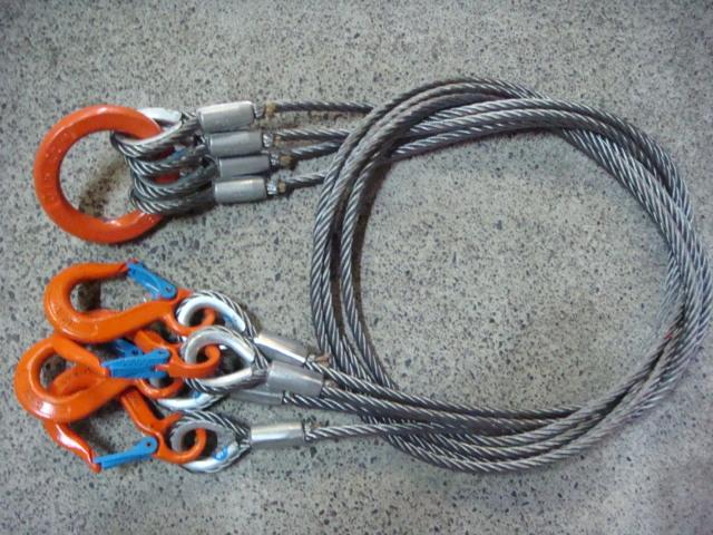 玉掛ワイヤー/送料無料/4点吊ワイヤー/4点吊ロック加工ワイヤー 9mm×1M 19mmリング&V0.63tフック付