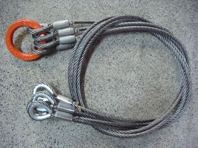 JIS玉掛4点吊ロック加工ワイヤー 12mm×1M 25mmリング&シンブル