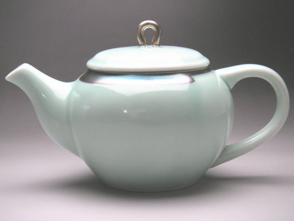 B級品 銀青磁 ポット 市販 茶こし付き 限定品 普段使いの食器