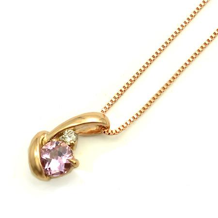ペンダント ピンクトパーズ ダイヤモンド 「chiarita」 ゴールド K18 ベネチアンチェーン