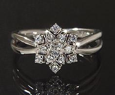 【GWクーポン配布中】K18 ダイヤモンド 0.15ct リング送料無料 指輪 18K 18金 ゴールド ダイアモンド 雪の結晶 スノー 誕生日 4月誕生石 刻印 文字入れ ピンキーリング メッセージ ギフト 贈り物