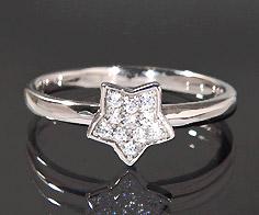 K18 ダイヤモンド 0.11ct スター リング 指輪 18K 18金 ゴールド ダイアモンド 星 誕生日 4月誕生石 刻印 文字入れ ピンキーリング メッセージ ギフト 贈り物