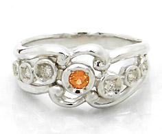 【GWクーポン配布中】【1点限り】K18WG オレンジサファイア ダイヤモンド リング