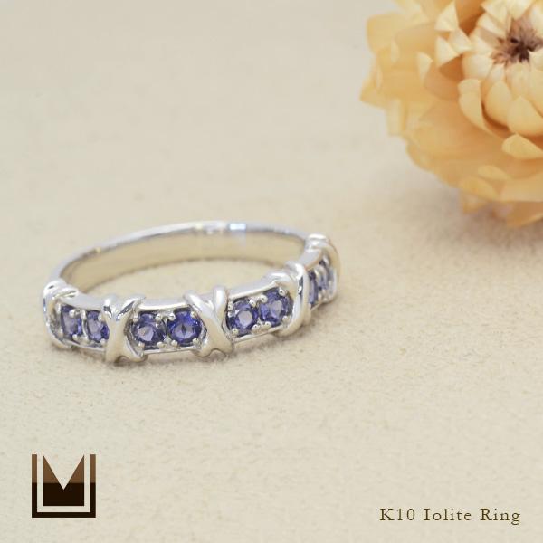 指輪 10K 10金 ギフト 海外並行輸入正規品 贈り物 普段遣い ブルー 青 ホワイトデー K10 70%OFFアウトレット アイオライト ゴールド カジュアルリング whiteday リング