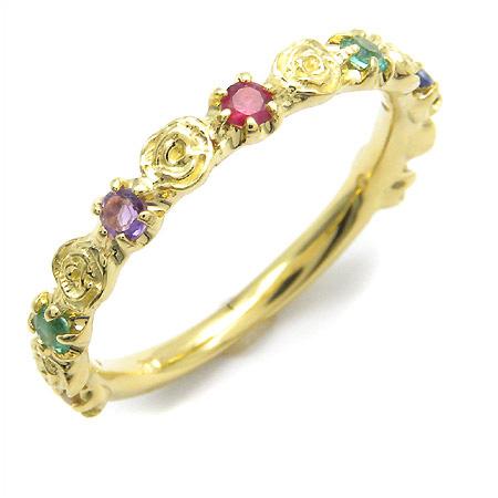 K18 ディアレスト バラモチーフ リング 「rosa」 指輪 ゴールド 18K 18金 ダイアモンド エメラルド アメシスト ルビー サファイア トパーズ 薔薇 センチメンタルジュエリー 刻印 文字入れ メッセージ ギフト 贈り物 ピンキーリング対応可能