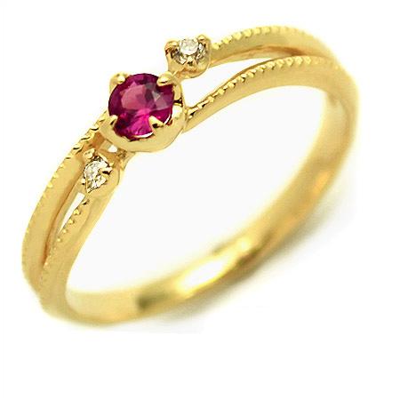 K18 ルビー ダイヤモンド リング 「cresta」送料無料 指輪 ゴールド 18K 18金 ダイアモンド ミル打ち 誕生日 7月誕生石 刻印 文字入れ メッセージ ギフト 贈り物 ピンキーリング対応可能