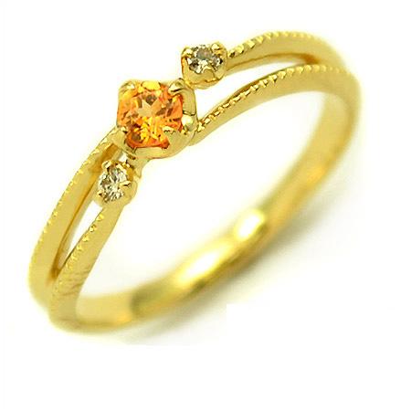 K18 マンダリンガーネット ダイヤモンド リング 「cresta」送料無料 指輪 ゴールド 18K 18金 ダイアモンド ミル打ち 誕生日 1月誕生石 刻印 文字入れ メッセージ ギフト 贈り物 ピンキーリング対応可能