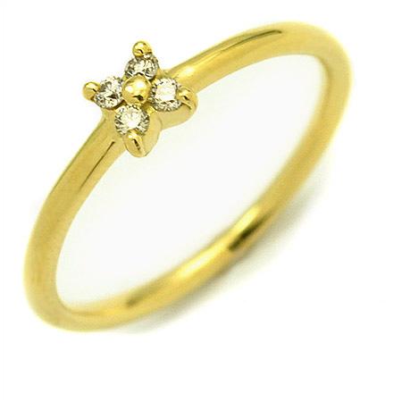 K18 フラワーモチーフ ダイヤモンド リング 「arte」送料無料 指輪 ゴールド 18K 18金 ダイアモンド 花 誕生日 4月誕生石 刻印 文字入れ メッセージ ギフト 贈り物 ピンキーリング対応可能