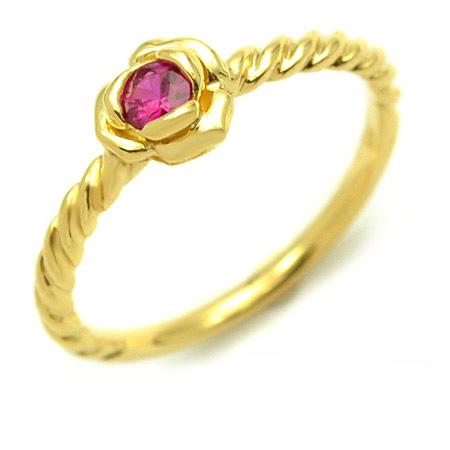 K18 ルビー リング 「romantica」 指輪 ゴールド 18K 18金 薔薇 バラ 誕生日 7月誕生石 刻印 文字入れ メッセージ ギフト 贈り物 ピンキーリング対応可能