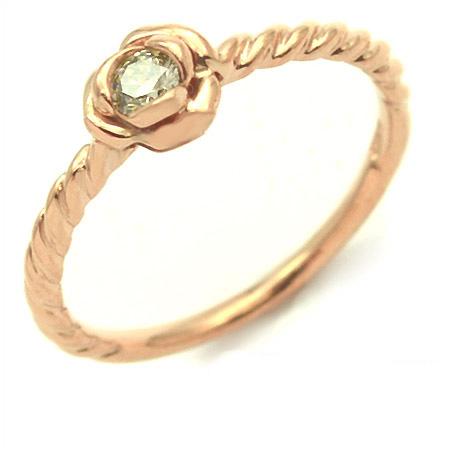 【GWクーポン配布中】K18 ブラウンダイヤモンド リング 「romantica」送料無料 指輪 ゴールド 18K 18金 ダイアモンド 薔薇 バラ 誕生日 4月誕生石 刻印 文字入れ メッセージ ギフト 贈り物 ピンキーリング対応可能