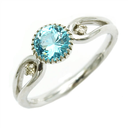 K18 ブルートパーズ ダイヤモンド リング 「amica」送料無料 指輪 ゴールド 18K 18金 ダイアモンド 誕生日 11月誕生石 刻印 文字入れ メッセージ ギフト 贈り物 ピンキーリング対応可能