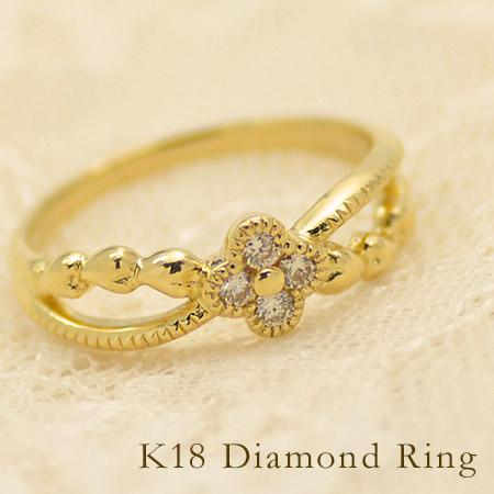 K18 フラワーハート ダイヤモンド リング 指輪 ゴールド 18K 18金 ダイアモンド 花 誕生日 4月誕生石 刻印 文字入れ メッセージ ギフト 贈り物 ピンキーリング対応可能