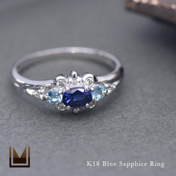 K18 ブルーサファイア ダイヤモンド リング送料無料 指輪 ゴールド 18K 18金 サファイヤ サンタマリアアクアマリン ダイアモンド 誕生日 9月誕生石 刻印 文字入れ メッセージ ギフト 贈り物 ピンキーリング対応可能