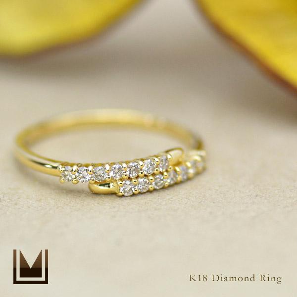K18 ダイヤモンド リング送料無料 指輪 ゴールド 18K 18金 ダイアモンド 誕生日 4月誕生石 刻印 文字入れ メッセージ ギフト 贈り物 ピンキーリング対応可能