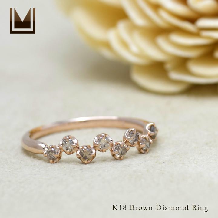 【GWクーポン配布中】リング ブラウンダイヤモンド 「stellato」 ゴールド K18 送料無料