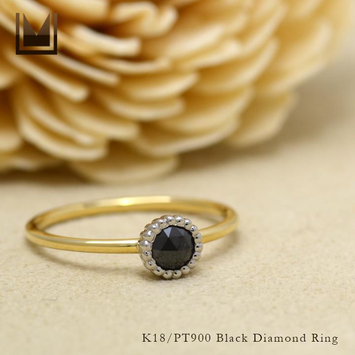 【GWクーポン配布中】リング ブラックダイヤモンド 「figaro」 プラチナ900 ゴールド K18 コンビネーション 送料無料