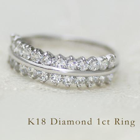 リング ダイヤモンド 1カラット ゴールド K18 送料無料
