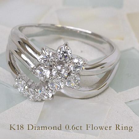 リング ダイヤモンド 0.6カラット ゴールド K18 送料無料
