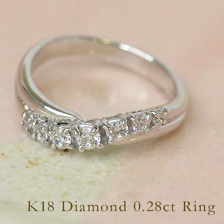 リング ダイヤモンド 0.28カラット ゴールド K18 送料無料