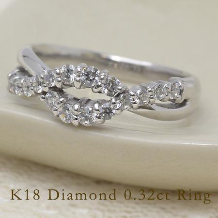 リング ダイヤモンド 0.32カラット ゴールド K18 送料無料