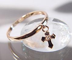 【GWクーポン配布中】リング ダイヤモンド ゴールド K18PG クロス チャーム 送料無料