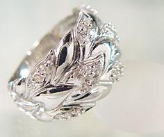 【GWクーポン配布中】リング ダイヤモンド プラチナ900 リーフ 送料無料