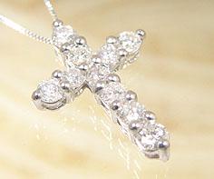 【GWクーポン配布中】ペンダント ダイヤモンド 1カラット ゴールド K18WG クロスモチーフ ベネチアンチェーン