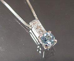 ペンダント アクアマリン ダイヤモンド プラチナ900 ベネチアンチェーン 送料無料