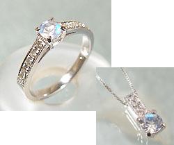 【GWクーポン配布中】リング ペンダント セット ブルームーンストーン ダイヤモンド プラチナ900 ベネチアンチェーン 送料無料