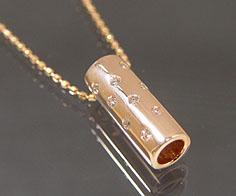ペンダント ダイヤモンド ゴールド K18PG ドット ベネチアンチェーン 送料無料