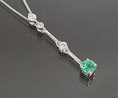 ペンダント エメラルド ダイヤモンド Iライン プラチナ900 ベネチアンチェーン