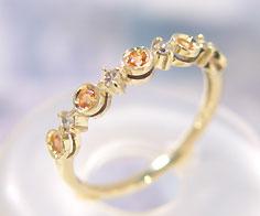 リング オレンジサファイア ダイヤモンド ゴールド K10