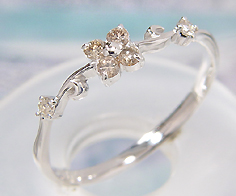 リング ブラウンダイヤモンド ダイヤモンド ゴールド K10WG フラワーモチーフ 送料無料